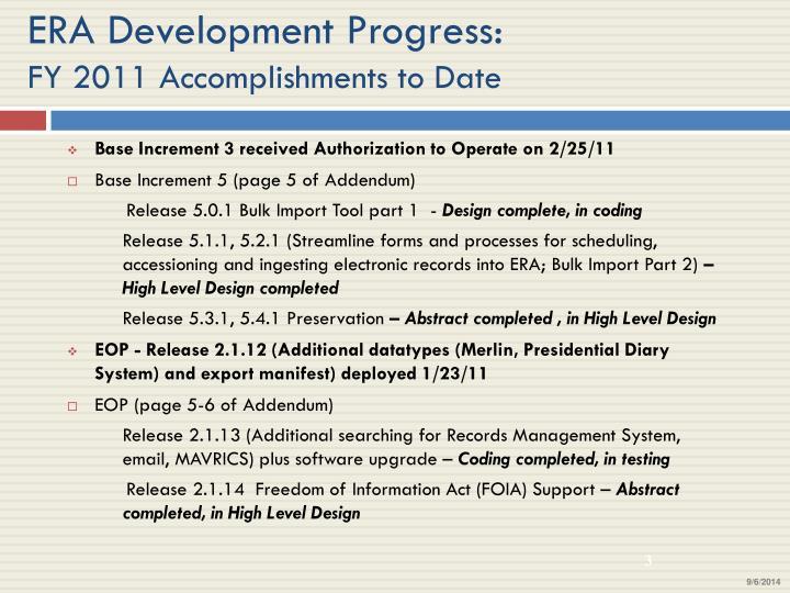Era development progress fy 2011 accomplishments to date