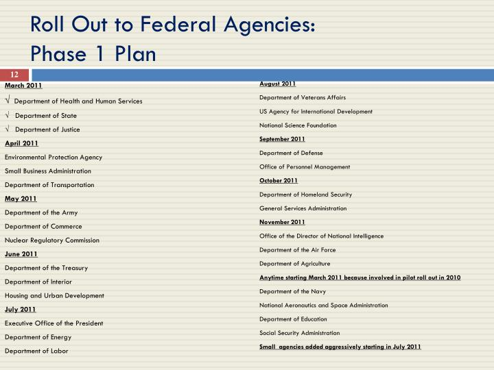 Roll Out to Federal Agencies:
