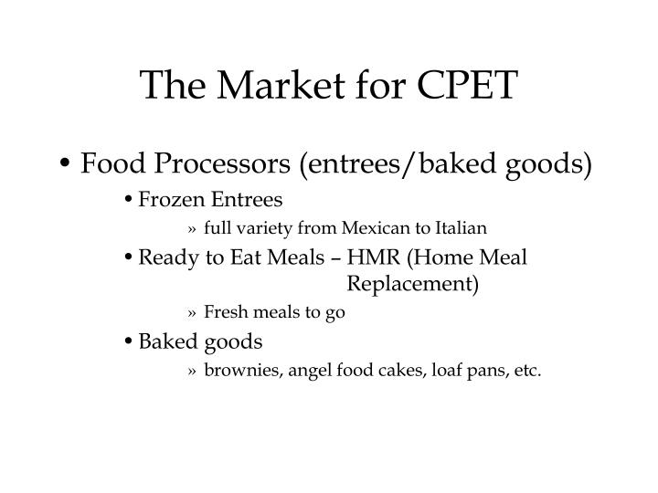 The Market for CPET