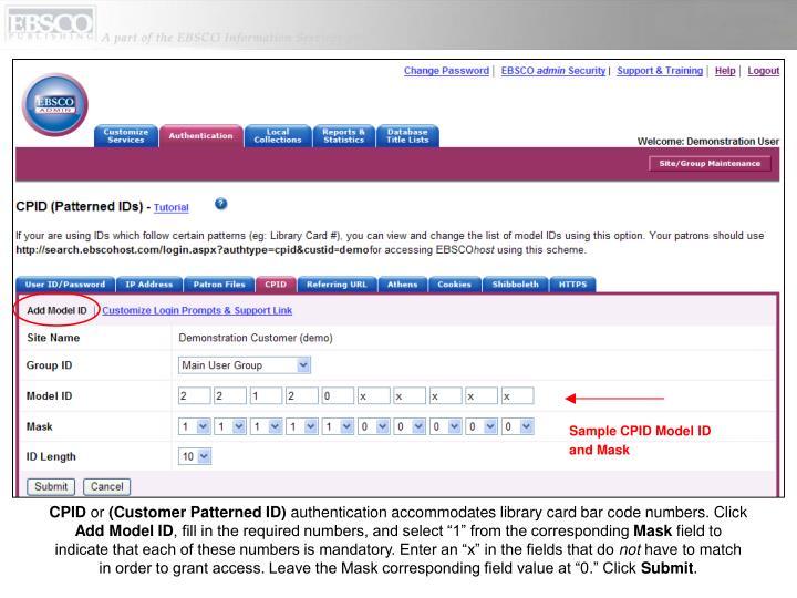 Sample CPID Model ID