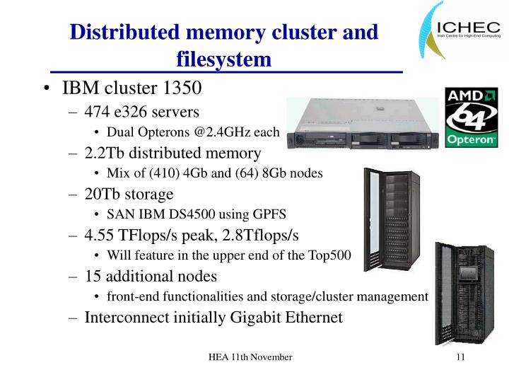 Distributed memory cluster and filesystem