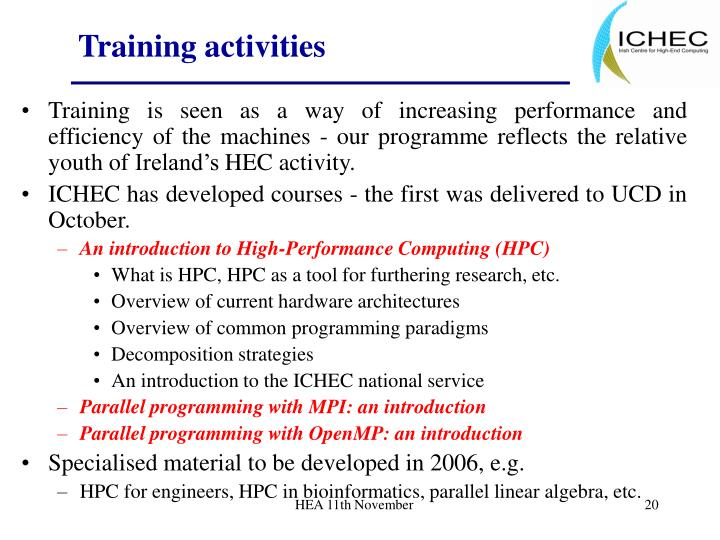 Training activities