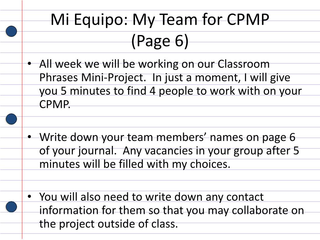 PPT - Student Name Spanish Journal Sr  Sorrells Class Period