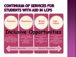 continuum of services for students with asd in lcps