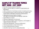 sample of training topics sept 2008 oct 2009