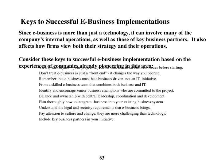 Keys to Successful E-Business Implementations