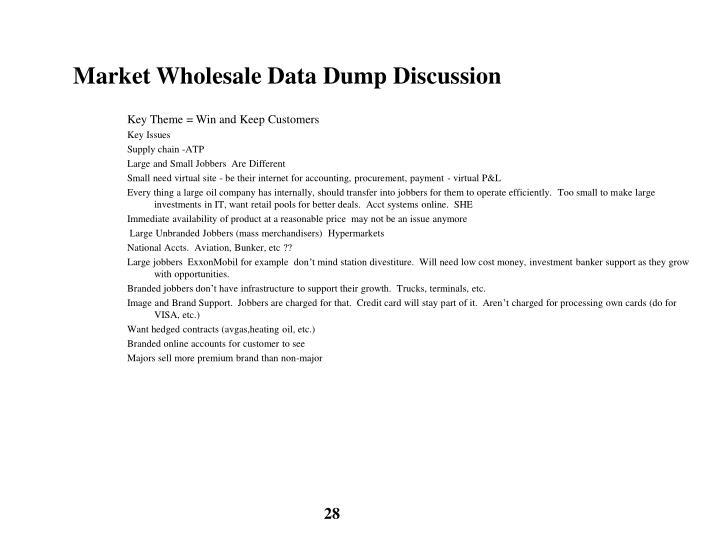 Market Wholesale Data Dump Discussion