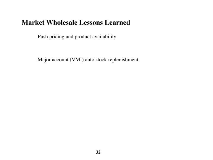 Market Wholesale Lessons Learned