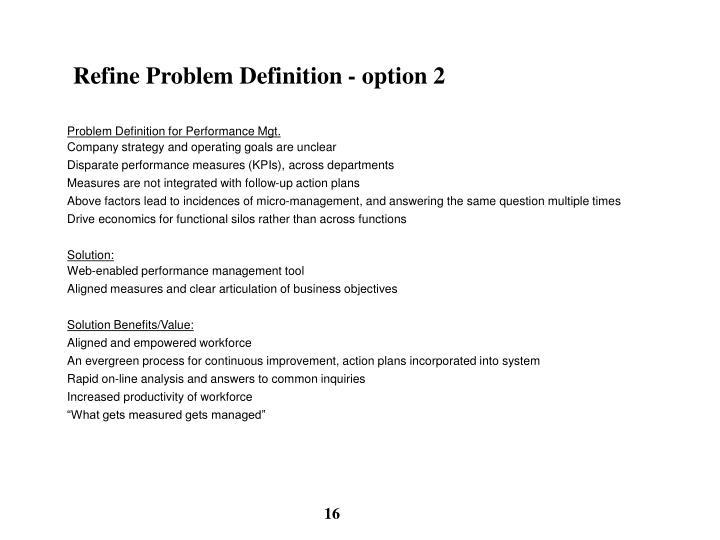 Refine Problem Definition - option 2