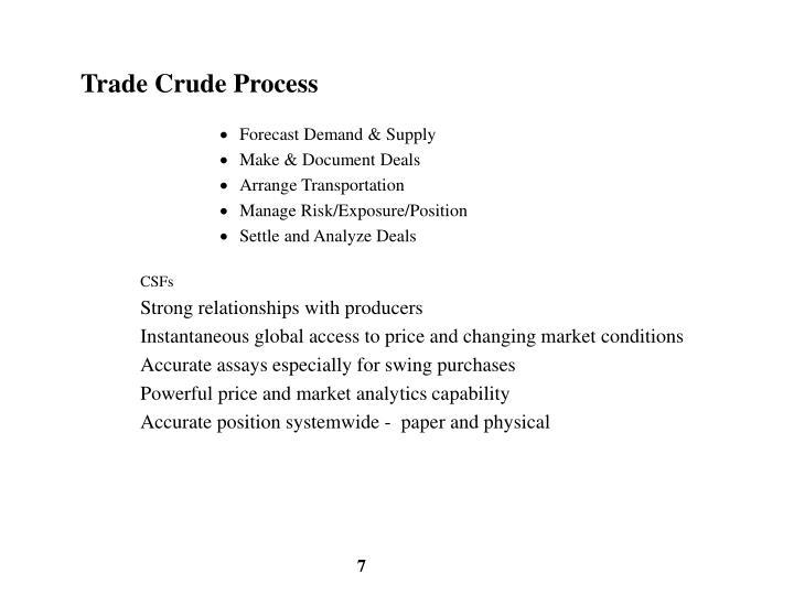 Trade Crude Process