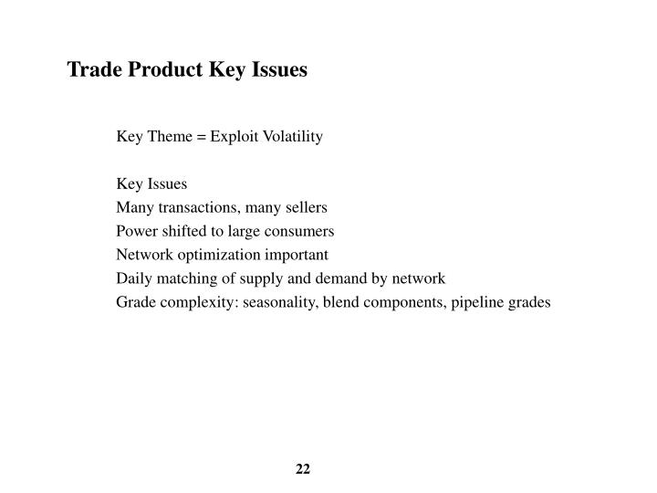Trade Product Key Issues