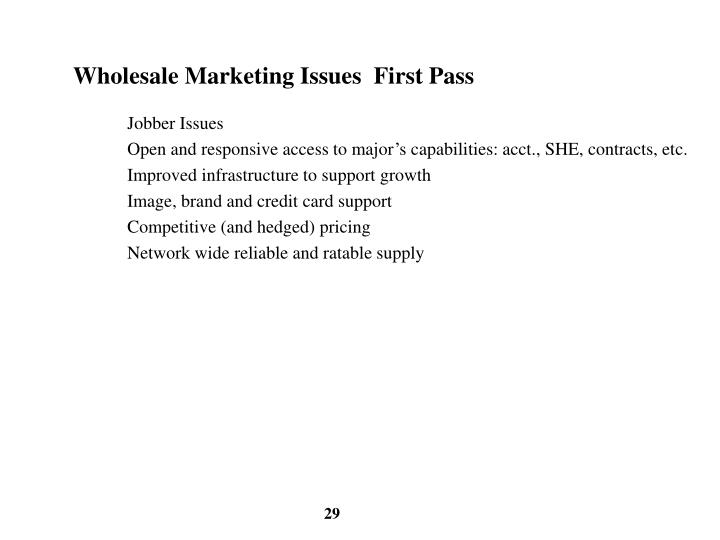 Wholesale Marketing Issues  First Pass