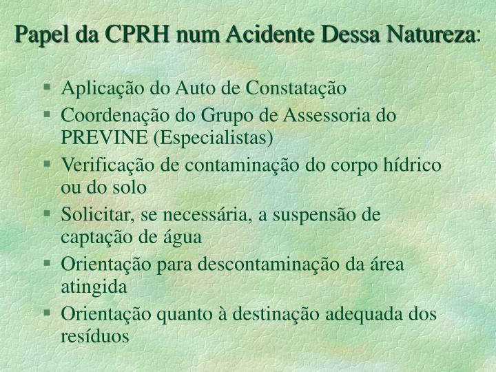 Papel da CPRH num Acidente Dessa Natureza