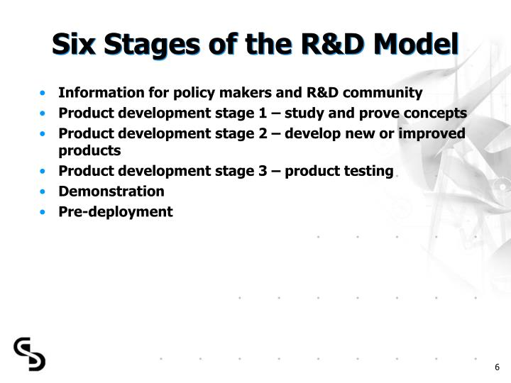 Six Stages of the R&D Model