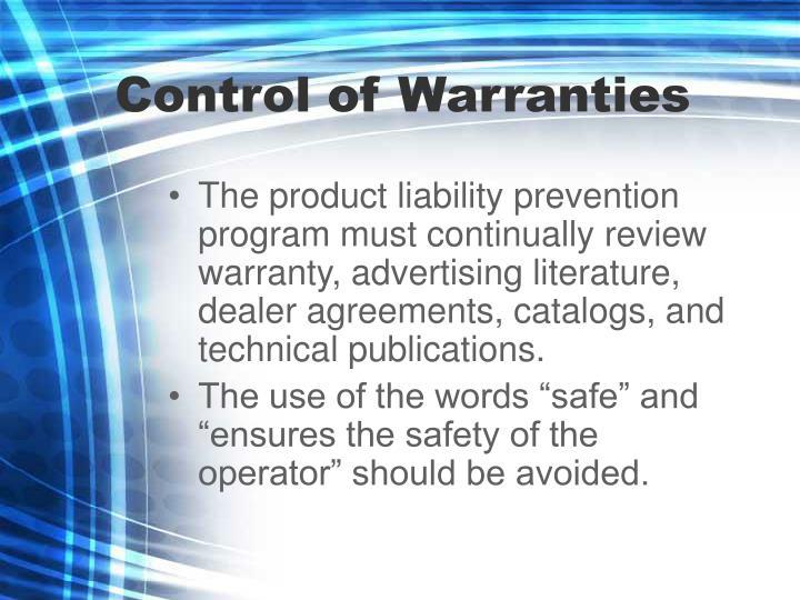 Control of Warranties