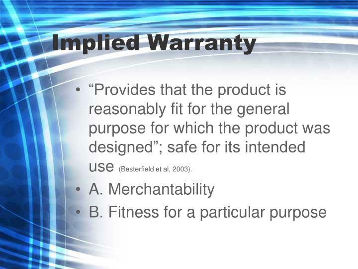 Implied Warranty