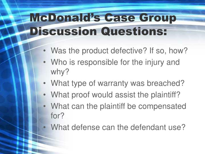 McDonald's Case Group Discussion Questions: