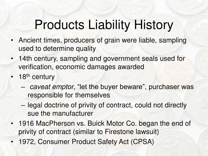 Products Liability History