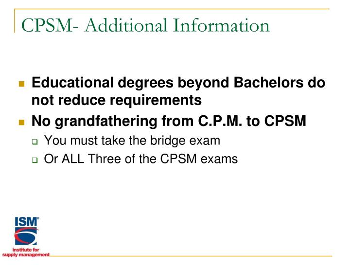 CPSM- Additional Information