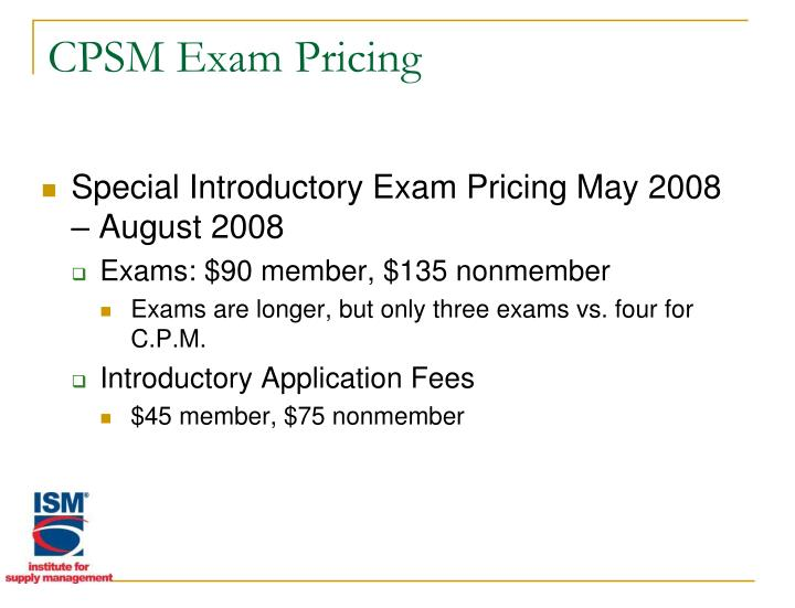 CPSM Exam Pricing