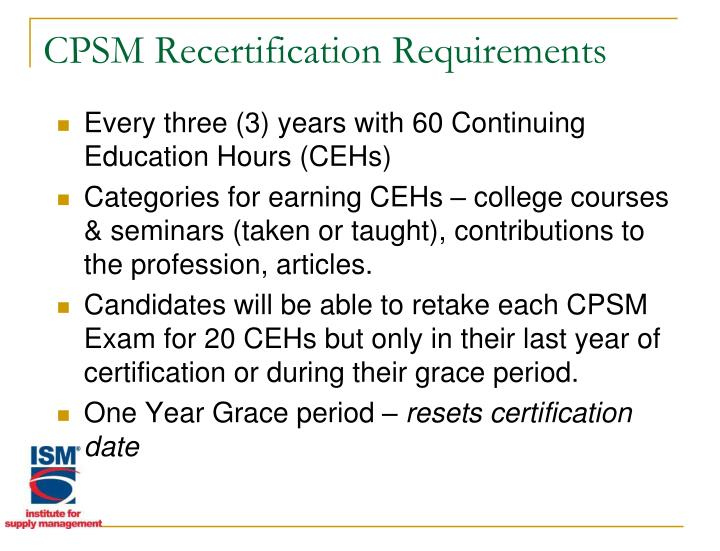 CPSM Recertification Requirements