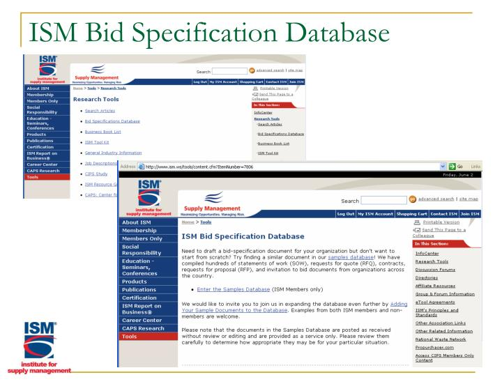 ISM Bid Specification Database