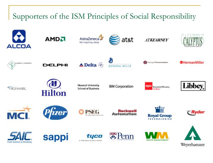 Supporters of the ISM Principles of Social Responsibility
