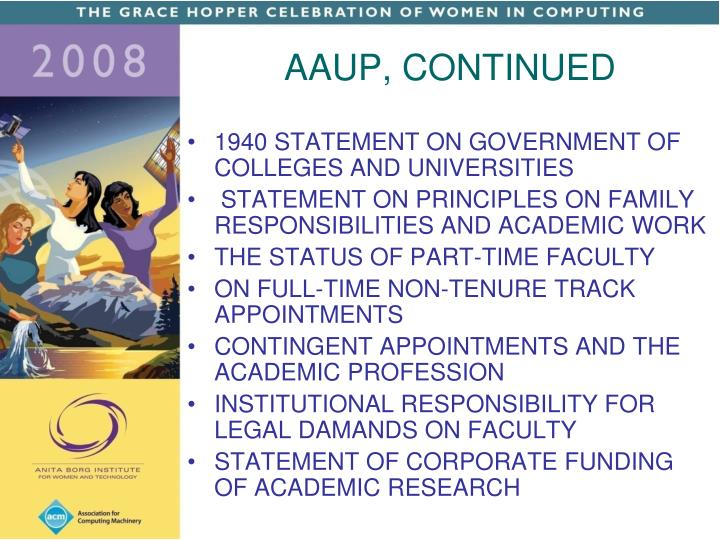 AAUP, CONTINUED