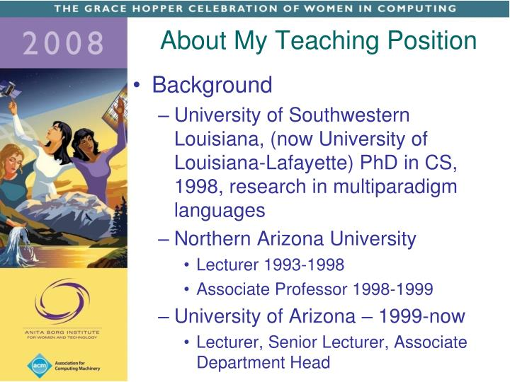 About My Teaching Position