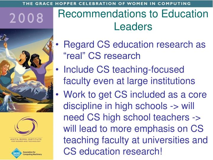 Recommendations to Education Leaders