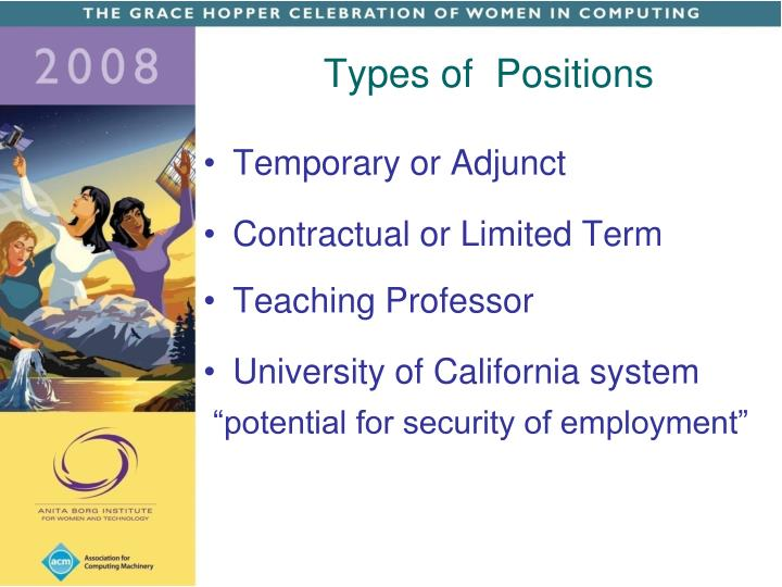 Types of  Positions