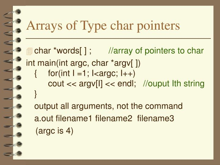 Arrays of Type char pointers