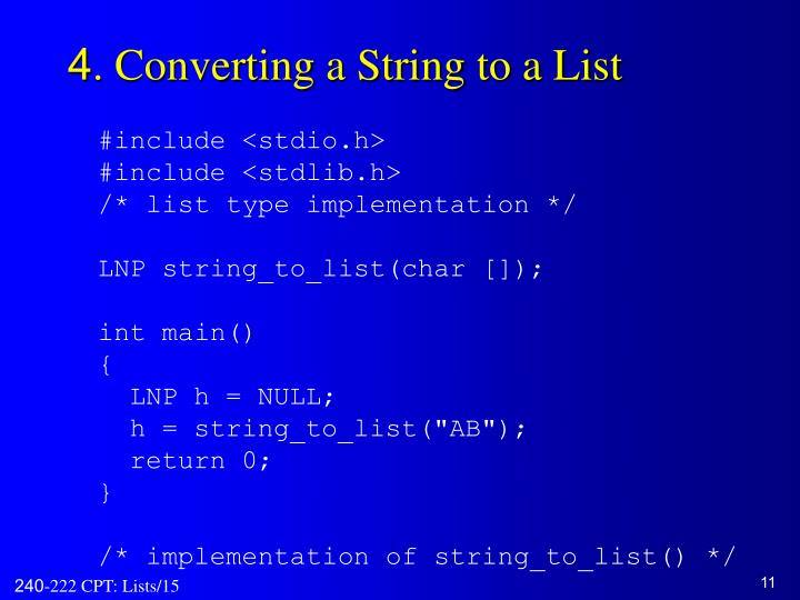 4. Converting a String to a List