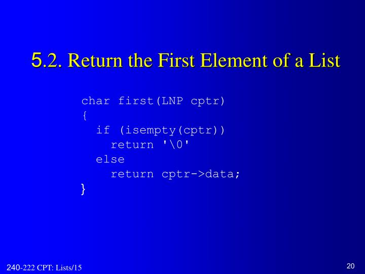 5.2. Return the First Element of a List