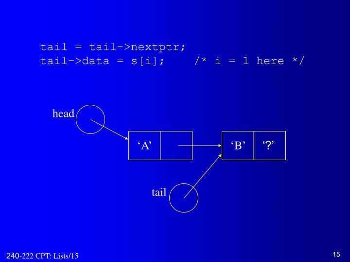 tail = tail->nextptr;