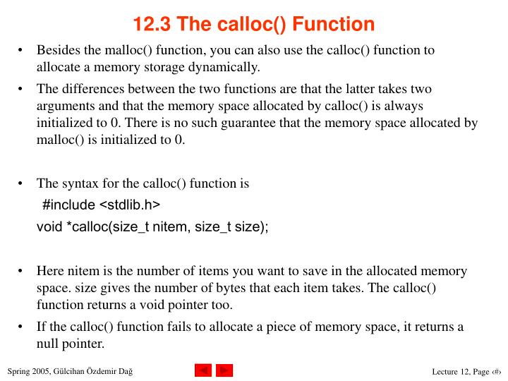 12.3 The calloc() Function