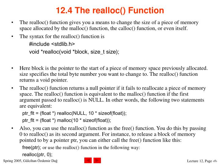 12.4 The realloc() Function