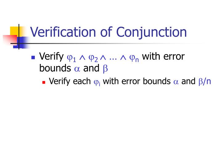Verification of Conjunction
