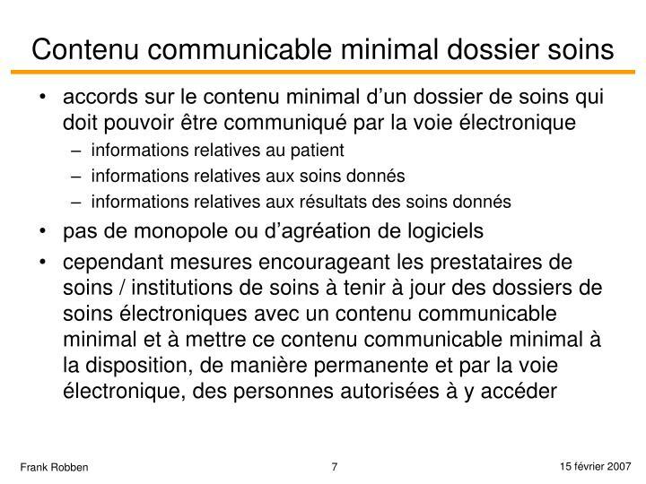 Contenu communicable minimal dossier soins