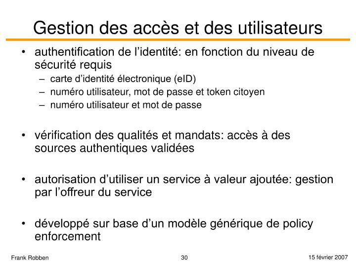 Gestion des accès et des utilisateurs