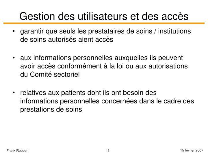 Gestion des utilisateurs et des accès