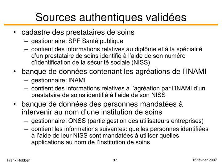 Sources authentiques validées