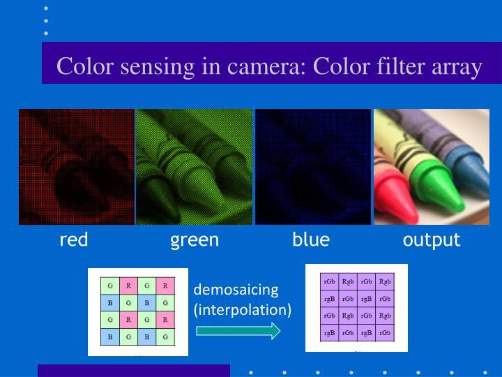 Color sensing in camera: Color filter array