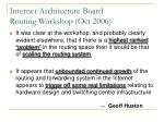 internet architecture board routing workshop oct 2006