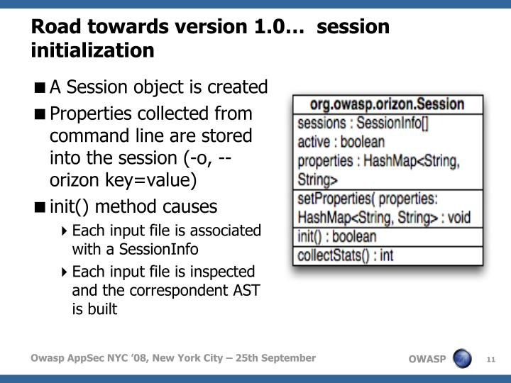 Road towards version 1.0…  session initialization