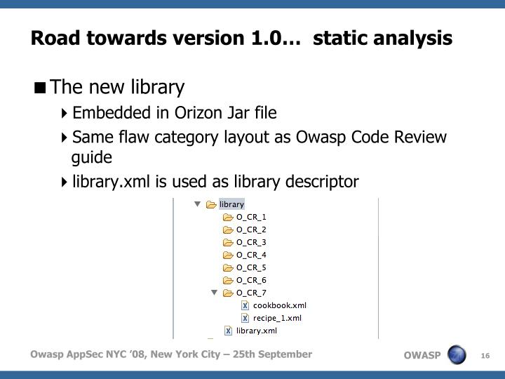 Road towards version 1.0…  static analysis