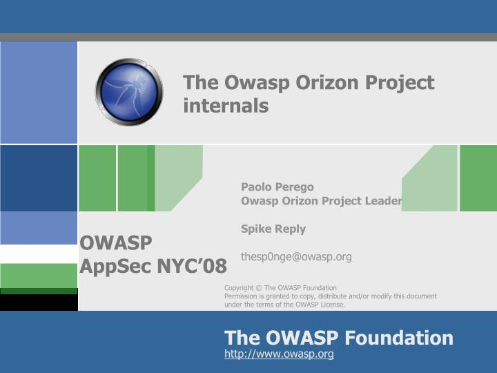 The Owasp Orizon Project