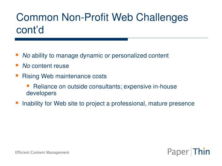 Common Non-Profit Web Challenges cont'd