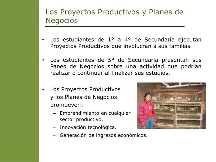 Los Proyectos Productivos y Planes de Negocios