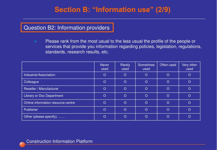 """Section B: """"Information use"""" (2/9)"""